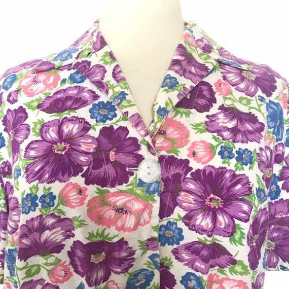 1940s house coat,40s overalls,dressing gown,floral print,UK 16, 18 plus size, purple, shirt dress