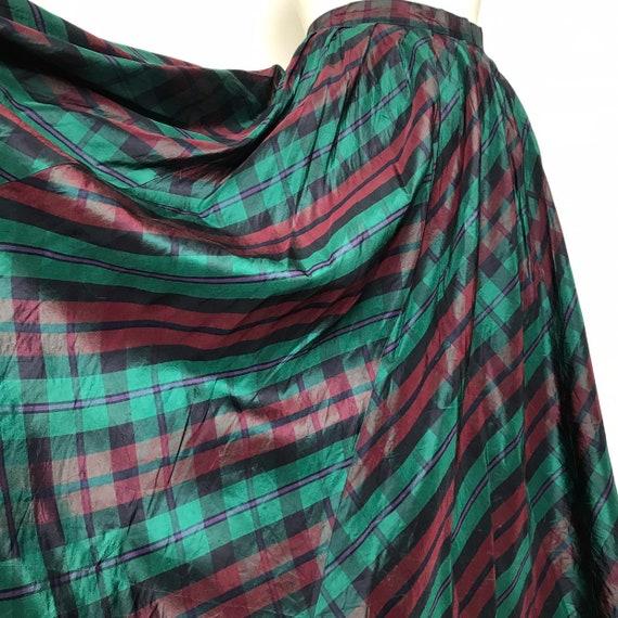 Vintage taffeta skirt,long skirt,tartan skirt,plaid,green,high waist,vintage,vintage Laura Ashley victoriana,steampunk, goth,flared skirt,14