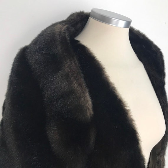 Faux fur wrap, vintage fake dark brown furry shawl wide shoulder cover wedding prom party cocktail scarf glam evening accessory