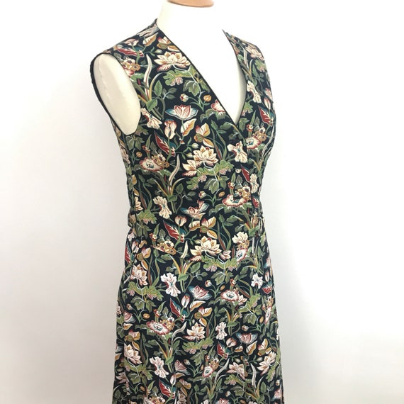 1970s waistcoat, vintage wrap skirt, A line skirt, William Morris style, cotton, matching set, vest 70s, arts and crafts, UK 16, handmade,
