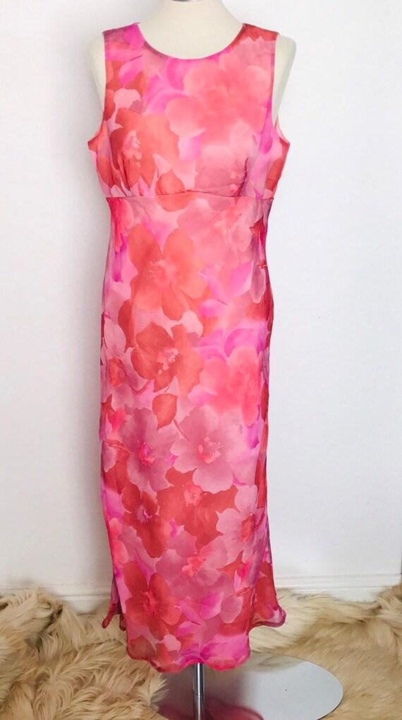 1960s dress, maxi dress, pink, flower power print, vintage, long gown, UK 12 14, staight cut, sleeveless, mad men, floral dress, chiffon,60s