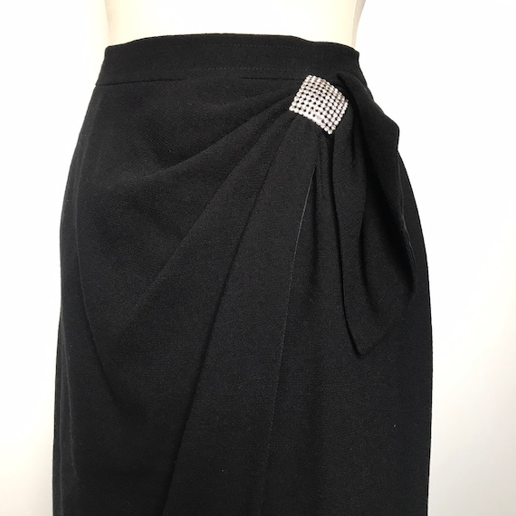 Vintage skirt,wrap skirt,black crepe,diamante,crepe polyester,80s does 50s, extra,80s party,faux wrap,pencil skirt,cocktail,UK 12,10