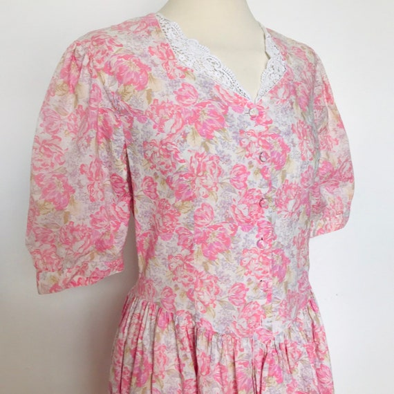 Laura Ashley dress,vintage lace collar,drop waist,Edwardian style,20s,30s look,pink,cotton,prairie,floral,daydress UK 12,re enactor,rose