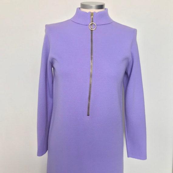 Vintage dress, 1960s,knitted dress,Mod dress, UK 10,US 6,vintage knit,scooter girl,purple,lilac dress,zip front dress,st michael