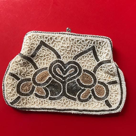 1920s handbag, 20s sequin purse, white beaded bag, Great Gatsby, evening purse, bridal, metallic, glamour Wedding, Art Deco