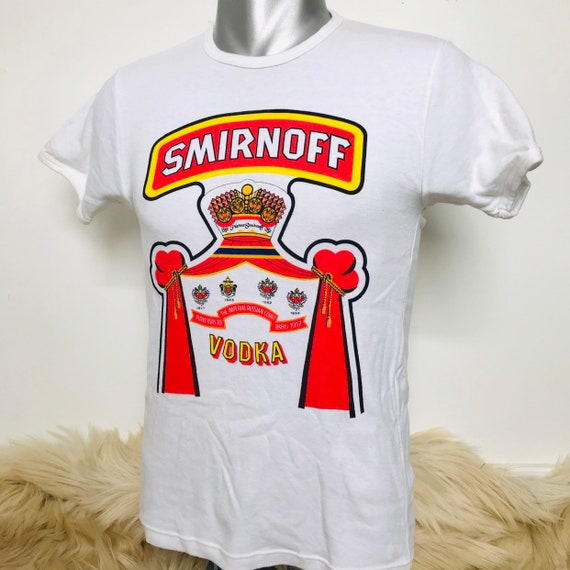 vintage t shirt,graphic tee,smirnoff vodka,80s tee,1980s tee,80s type,booze,ringer tee,cotton shirt,white tee,70s,promotional shirt,M