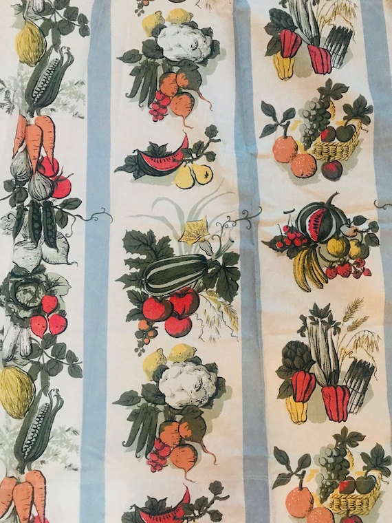 "Vintage curtains,vintage novelty print, kitchen, vegetables, striped, 43"" drop, 40"" W, 1950s, 50s, Midcentury, fun print"