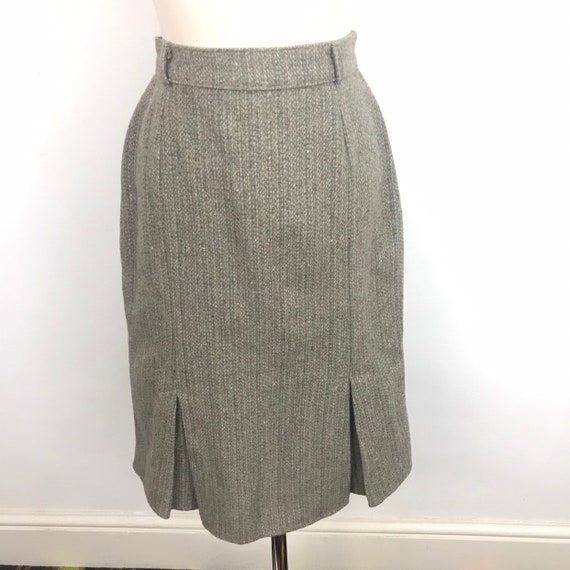 vintage pencil skirt brown grey tweed knee length, box pleats, UK 10, classic, pin up, 1940s style, wool mix, 70s does 40s