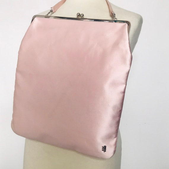 Vintage handbag,vintage Pringle,pink satin bag,big bag,jumbo clip top,designer purse,1990s,90s style,scooter girl,mod,legally blonde