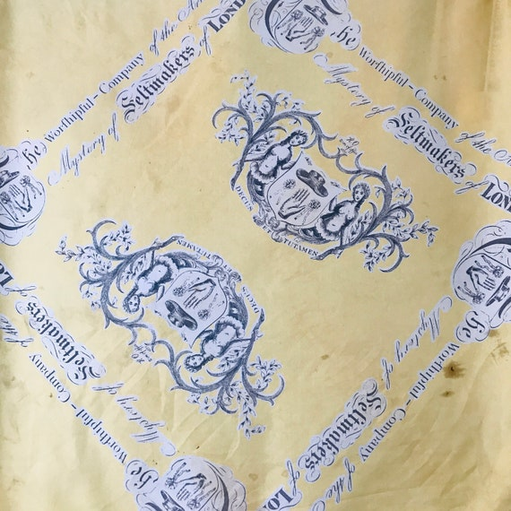 1950s silk scarf,Feltmakers,COmmemorative,1959 scarf,Yellow,Livery Company of London,50s scarf,headscarf,felt Craftsman,collectable