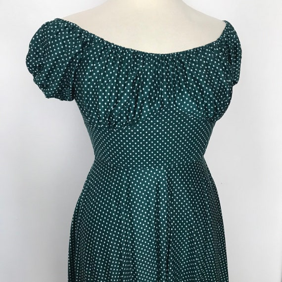 Vintage dress, gypsy dress, off shoulder, gypsy, peasant, green dress, polka dot, early 50s style, spotted, waist UK 12 14, boho hippie,long
