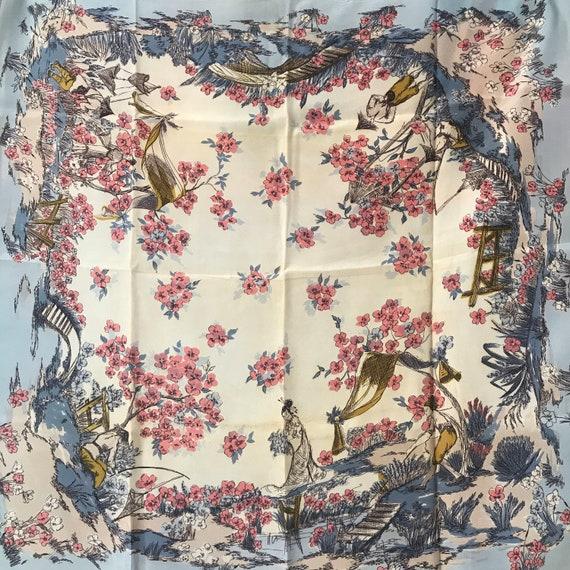 Vintage scarf,novelty print,Japanese,Geisha,1930s,40s,garden headscarf,neckerchief square,fun,vintage accessory,blue,synthetic,blossom