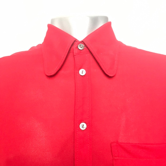 Vintage menswear, red shirt, XS,polyester knit top,1970s,70s shirt,St Michael,small,northern soul,disco,14 collar,dagger collar