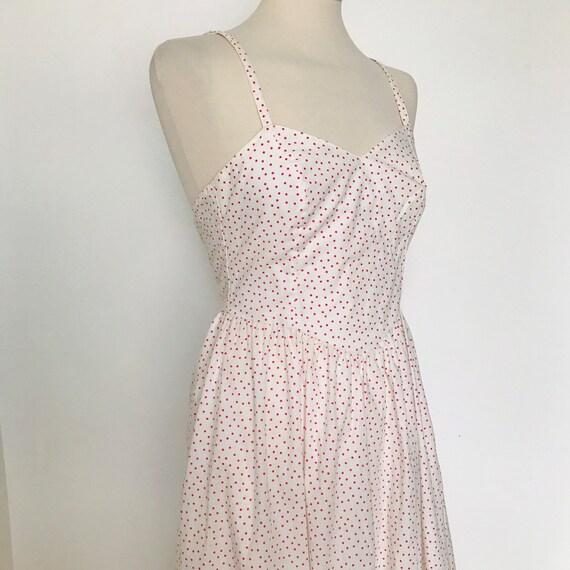 Laura Ashley dress,50s style cotton dress,low back,sundress,polka dot,spotty,day dress,1980s does 1950s,vintage,white dress,6,8