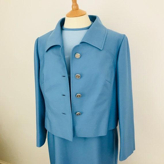Vintage suit, Mod suit, blue shift dress, boxy jacket, plus size, UK 18, Petite Francais, 60s two piece, scooter girl, volup vintage,wedding
