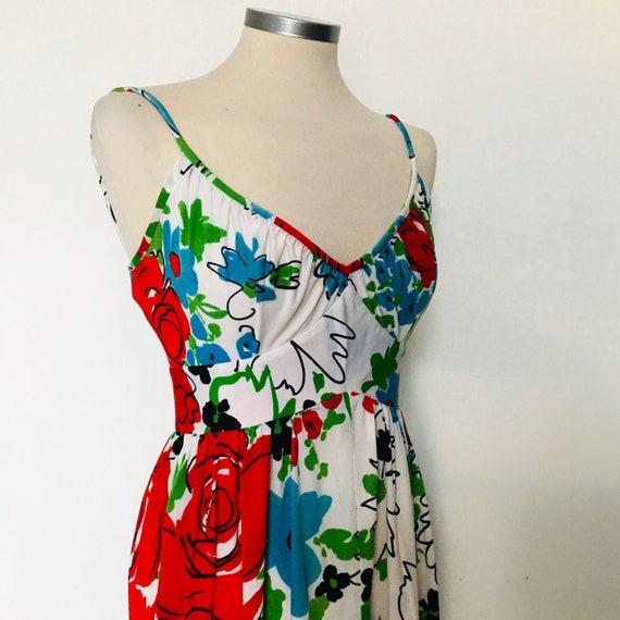 vintage dress,floral dress,gypsy dress, flowery,white,strappy,flared,UK 8,1970s mod,scooter girl,shawl,fringed, 70s,hippie,sundress