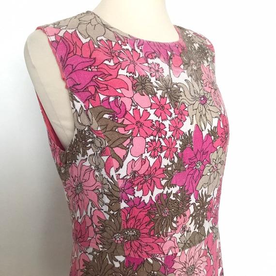 1960s dress, shift dress,pink dress, flower power print, size 12,floral dress, 60s Mod scooter girl, 60s, GoGo, wedding,linen