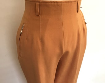 Vintage stirrup pants burnt orange wool mix lycra 50s 60s look ski pants high waisted trousers UK 8 60s beatnik Mod midcentury style coral