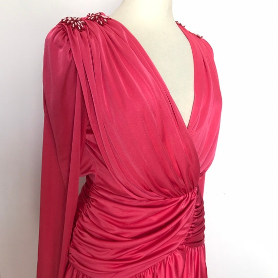 Vintage dress,grecian dress,deep V,pink,long  gown,draped,sweeping,long skirt,UK 14,16,disco,red carpet,evening gown,drag,glam,plus size,