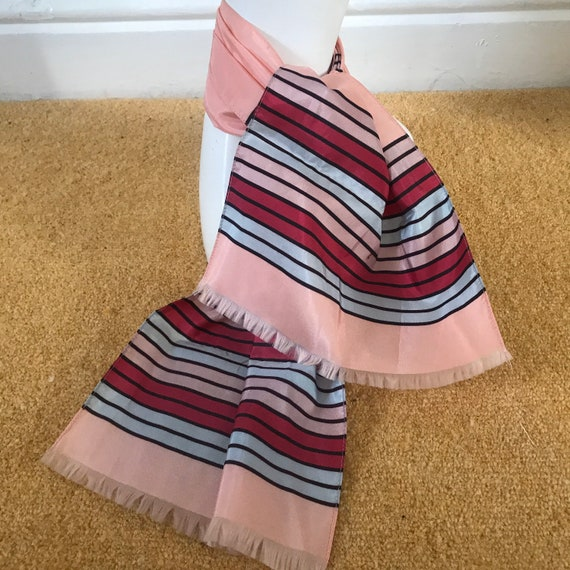 Vintage scarf,striped,sugar pink,nylon, stripes trim fringe neck tie evening scarf 40s stripey,1940s,50s,baby blue