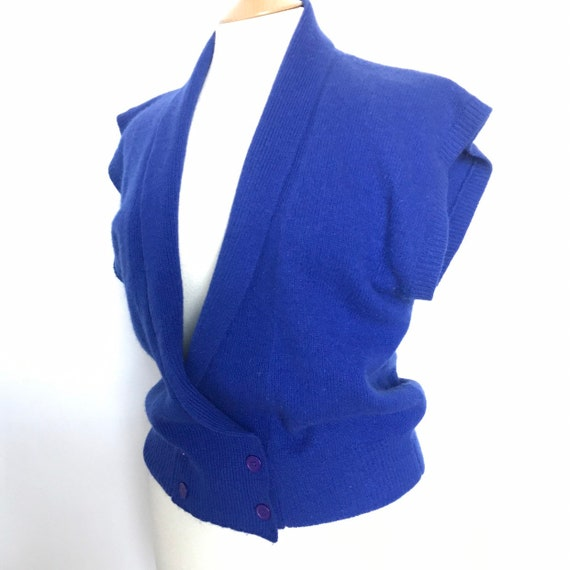 Vintage knitting,knitted vest,electric blue,shawl collar, wool sweater,80s knit,waistcoat,Viyella,mohair,knitwear,M,audrey horne