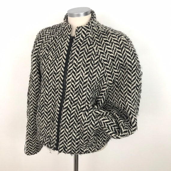 Vintage jacket, bomber jacket, wool, 1980s coat, dogstooth style, 80s, chevron, monochrome, Annie Hall, UK 14, L