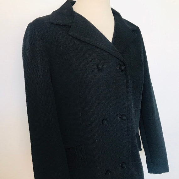 1960s coat,mod jacket,black crimplene,double breasted,3/4 coat,Mod,60s coat,ribbed,scooter girl,70s coat,GoGo,UK 8,small