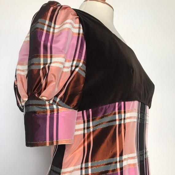 1960s dress,Regency style,jane austen,plaid,maxi,60s,empire line,peach,brown velvet,UK 14,prairie,Disney costume