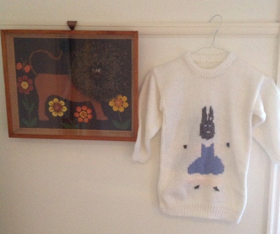 Funny bunny vintage childrens handknit jumper knitted sweater rabbit