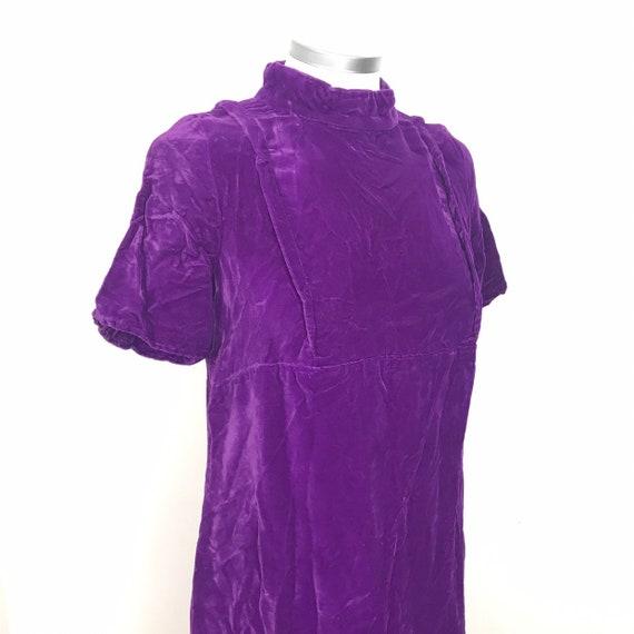 Vintage dress, velvet dress, purple, magenta, 1960s, midi dress, boho, GoGo, Scooter girl 60s style , pan velvet, UK 10 12, babydoll, empire