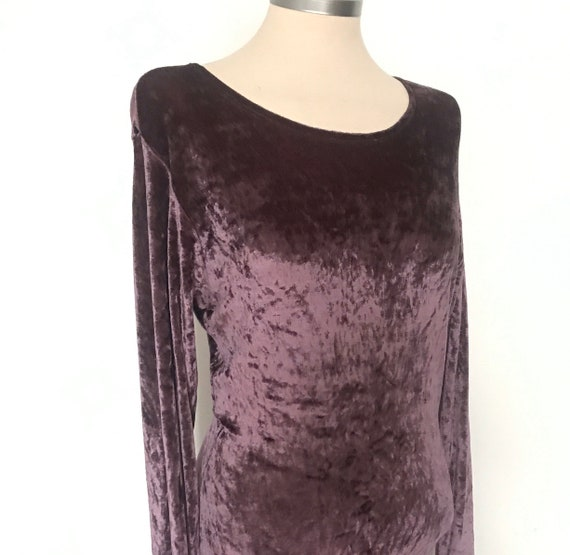 Vintage dress,purple dress,Velour dress,90s dress,stretch dress, hourglass, vamp,goth, crushed velvet,velour,90s style,UK 8,10,