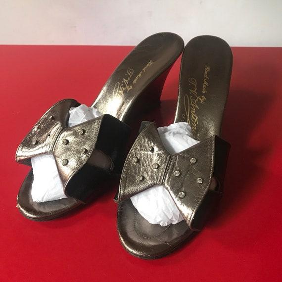 Vintage mules, 1950s style, wedge heel, 50s peep toe, metallic pumps, pin up, slip ons, evening shoes, pewter, leather, wedgies, UK 5, 38