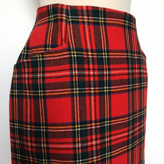 Plaid skirt,red plaid,tartan,pencil skirt,high waist skirt,Red tartan,straight cut,pin up,UK 10,12,high waisted,Bad Girl,60s,50s,40s,vintage