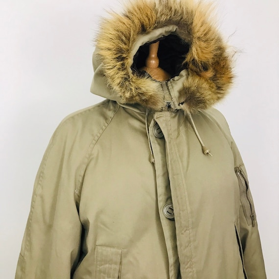 Vintage parka, 1970s coat, greige, canada north jacket, hip length, fur hood, 70s, eskimo coat, Mod, winter, L, 16, unisex, beige,
