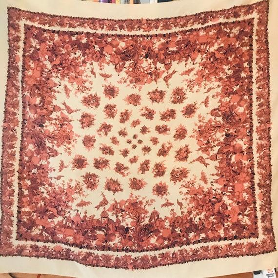Vintage scarf,novelty print,chintz,Indian ,1930s,40s, headscarf,neckerchief square,fun,vintage accessory,rayon,elephants,
