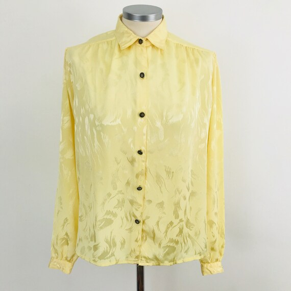 Vintage blouse, vintage yellow shirt, 1980s silky blouse, butter, crepe look, UK 10 80s does 40s look, sexy secretary, 80s nu wave