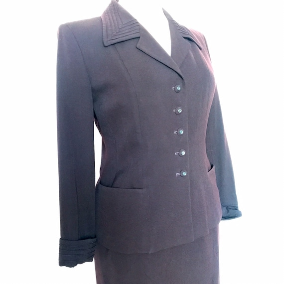 Vintage suit,early 1950s,late 1940s,90s does 40s,Paul Smith suit,aubergine,eggplant purple,wool suit,New Look style,UK 12 14,40s details