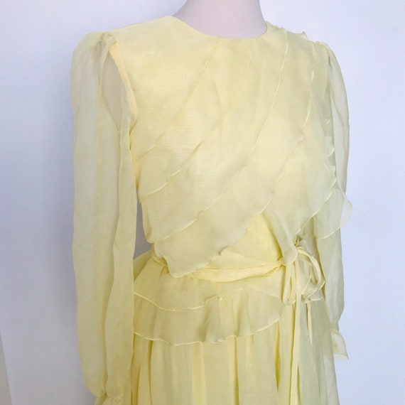 Vintage dress,yellow dress,frilly dress,chiffon dress, sheer,maxi dress,alternative wedding dress,ephemeral,UK 10,bridesmaid,70s,boho,1970s