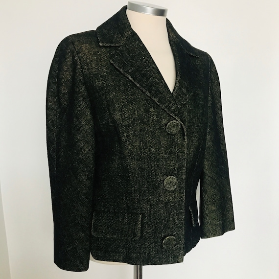 Vintage jacket,50s jacket,1950s cropped,tailored,wedding,green,black,UK 10,Jackie O,midcentury,green marl, Henry Burger