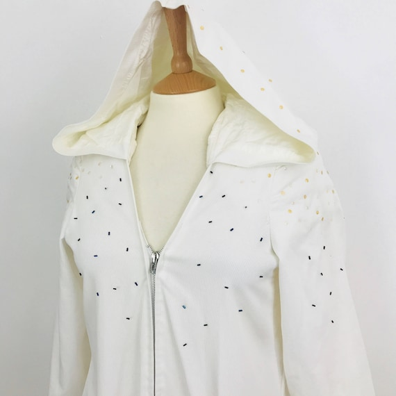 Vintage hooded top handmade white mini dress nu wave race sequin disco ribbed cotton flared sleeve beaded pouch festival boho crazy costume