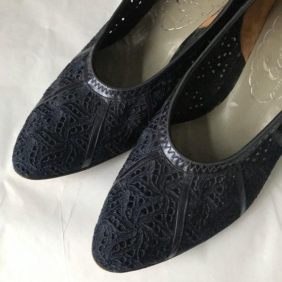 1950s shoes,1950s pumps,50s heels,blue leather,lace shoes,pin up,Mad Men,Rockabilly UK 6,EU 39,US 8