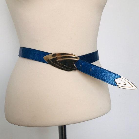 Vintage belt, metallic blue,electric blue,glam rock,70s, 80s belt, leather belt, trashy,large, 30 to 34 waist, Star Trek, gold buckle
