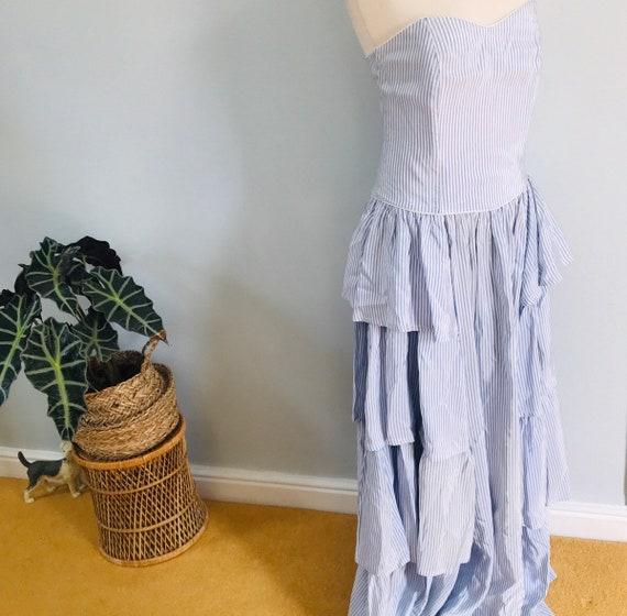 Vintage dress,vintage Laura Ashley,ballgown,boned,striped,tafetta,alternative bride, UK 12, burlesque, steampunk, sweetheart, frilly,