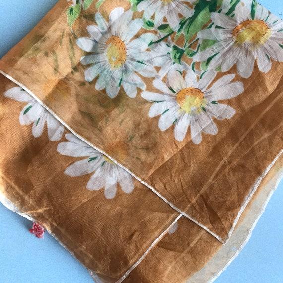 Vintage scarf,silk scarf,daisy print,daisies, parachute silk, bronze, brown, flowers accessory headscarf, neckerchief, sheer silk, 30s, 40s,