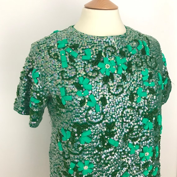 1950s beaded top, green sequin sweater, 50s, 60s tunic, fully appliqued, flowers, pearls sequins, 1960s, L, UK 14, Tricoville