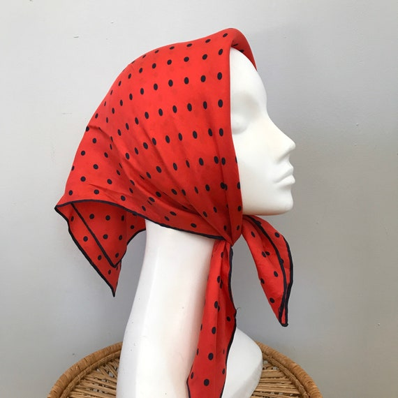 Vintage scarf, red scarf, large pocket square, polka dot navy scarf spotty gentlemans handkerchief, head scarf, silk scarf