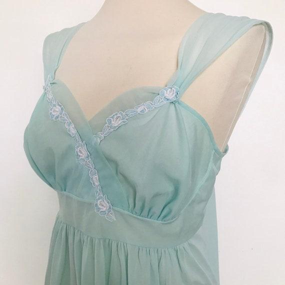 Vintage slip pale blue, night gown,pastel nightie,UK 12,nylon,turquoise,St Michael,early 50s,damaged