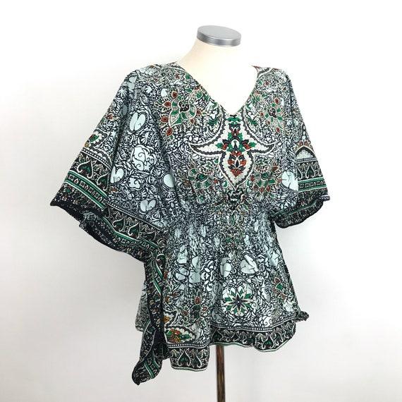 Vintage kaftan, Indian cotton, batik style, tunic, cape sleeves, hippie, boho, one size, beach, vintage 70s, elasticated waist