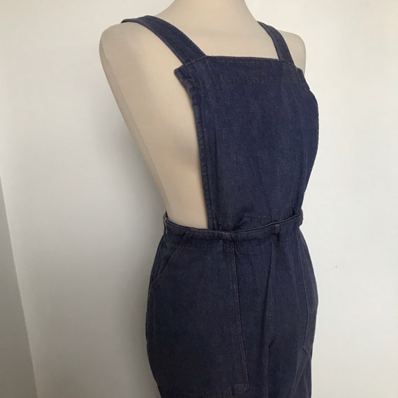 Vintage dungarees,vintage denim,40s,50s workwear,side button,34,waist,unisex,removable bib,Workers Jeans,chambray,high waist,pants,L,cropped