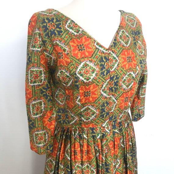 1950s dress,vintage Blanes,midcentury,paisley print,50s cotton dress,flared skirt,full skirt,UK 10,12,vintage cotton,pin up,classic 50s
